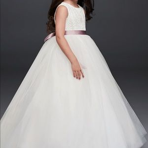 Ball gown flower girl dress with heart cut out